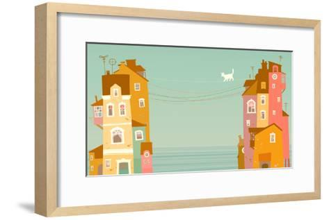 Two Houses on the Background of the Sea, Connected by Wires-polinina-Framed Art Print