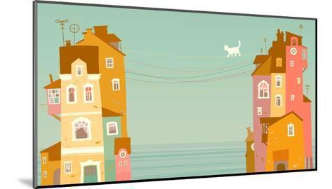 Two Houses on the Background of the Sea, Connected by Wires-polinina-Mounted Art Print