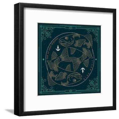 Vintage Thin Line Fish Label-karnoff-Framed Art Print