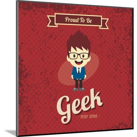 Cartoon Geek Character-vector1st-Mounted Art Print