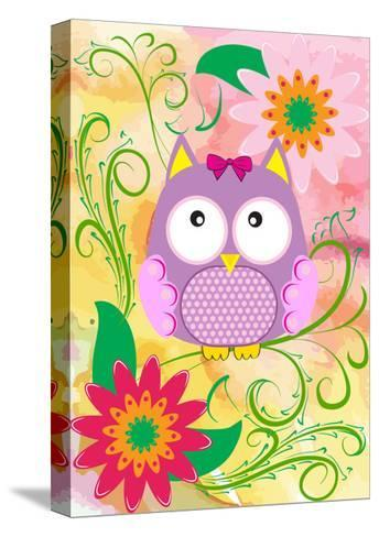 Owl and Flowers-emeget-Stretched Canvas Print