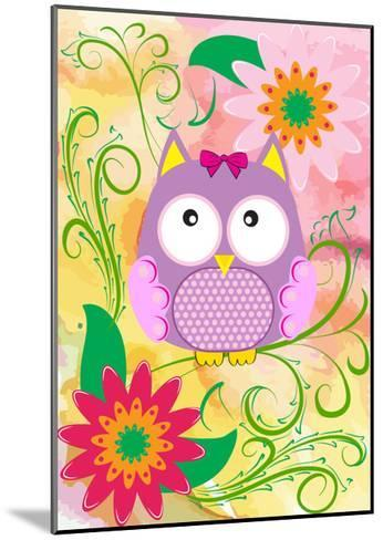 Owl and Flowers-emeget-Mounted Art Print