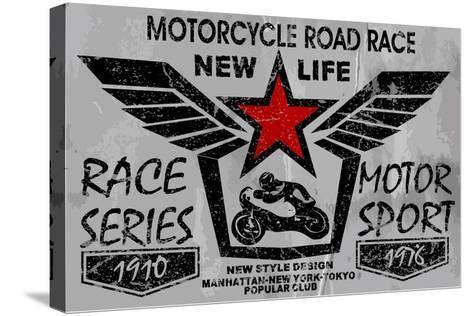 Vintage Motorcycle Labels, Badges and Design Elements-emeget-Stretched Canvas Print