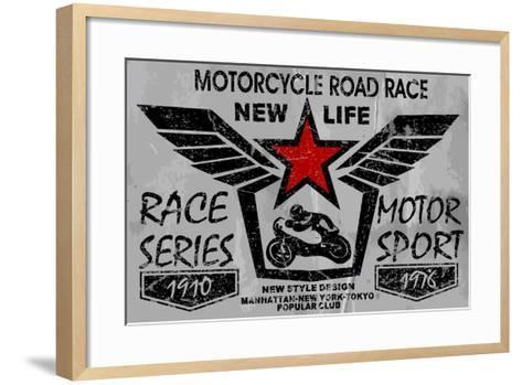 Vintage Motorcycle Labels, Badges and Design Elements-emeget-Framed Art Print