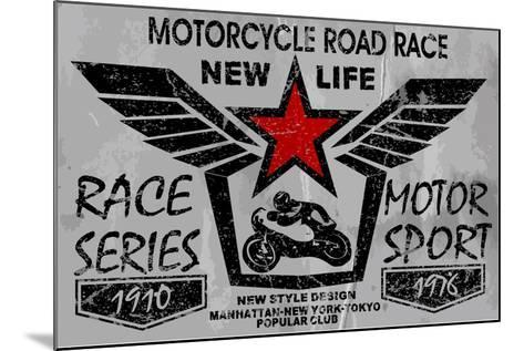 Vintage Motorcycle Labels, Badges and Design Elements-emeget-Mounted Art Print