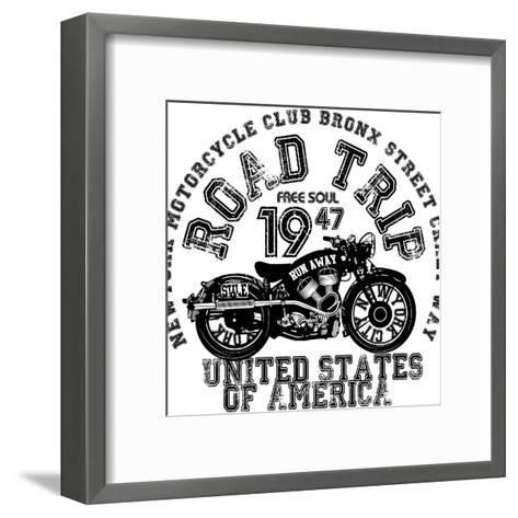 Vintage Motorcycle T-Shirt Graphic-emeget-Framed Art Print