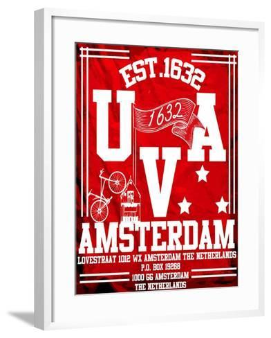 Amsterdam University City Man T Shirt Vector Graphic Design-emeget-Framed Art Print