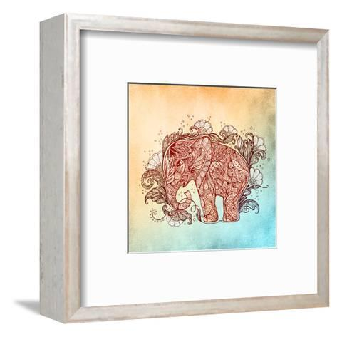 Beautiful Hand-Painted Elephant with Floral Ornament-Vensk-Framed Art Print