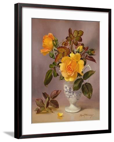 Orange Roses in a Blue and White Jug-Albert Williams-Framed Art Print