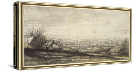 Extensive Landscape with Cottage and Cattle (Black Chalk, Grey and Yellow Wash)-Aelbert Cuyp-Stretched Canvas Print