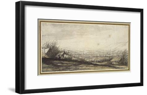 Extensive Landscape with Cottage and Cattle (Black Chalk, Grey and Yellow Wash)-Aelbert Cuyp-Framed Art Print