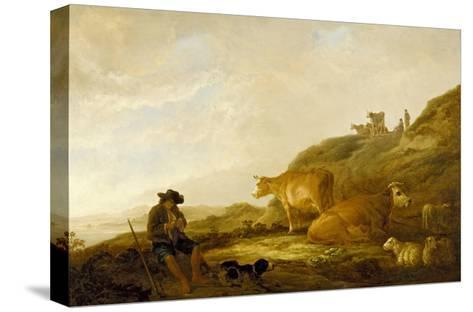 Seated Shepherd with Cows and Sheep in a Meadow, 1644 (Oil on Oak Panel)-Aelbert Cuyp-Stretched Canvas Print