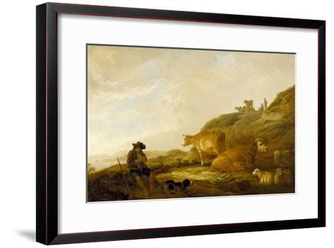 Seated Shepherd with Cows and Sheep in a Meadow, 1644 (Oil on Oak Panel)-Aelbert Cuyp-Framed Art Print