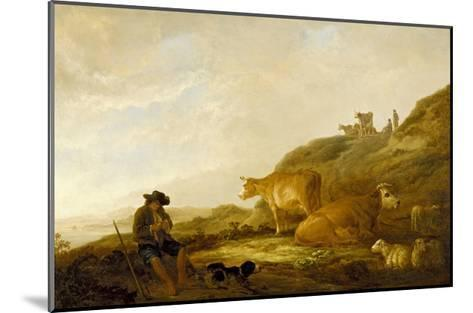 Seated Shepherd with Cows and Sheep in a Meadow, 1644 (Oil on Oak Panel)-Aelbert Cuyp-Mounted Giclee Print
