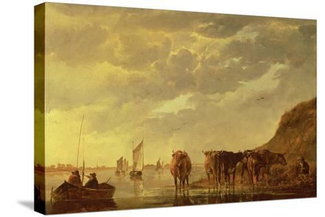 A Herdsman with Five Cows by a River, C.1650 (Panel)-Aelbert Cuyp-Stretched Canvas Print
