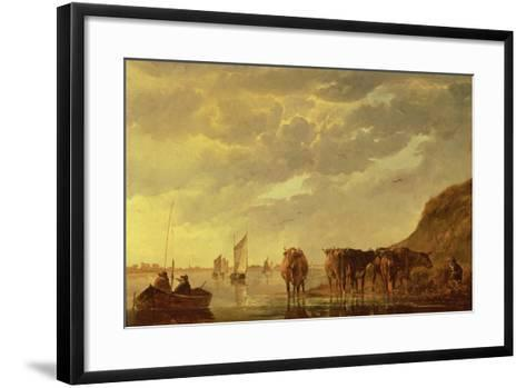A Herdsman with Five Cows by a River, C.1650 (Panel)-Aelbert Cuyp-Framed Art Print