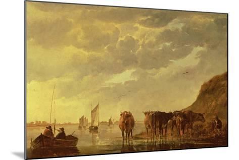 A Herdsman with Five Cows by a River, C.1650 (Panel)-Aelbert Cuyp-Mounted Giclee Print