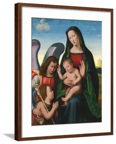 The Madonna and Child with the Young Saint John the Baptist and an Angel (Oil and Gold on Panel)- Albertinelli & Buigardini-Framed Art Print