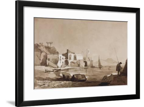 Port Flying the Borbone Flag with Vesuvius to the South-Achille Vianelli-Framed Art Print