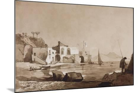 Port Flying the Borbone Flag with Vesuvius to the South-Achille Vianelli-Mounted Giclee Print