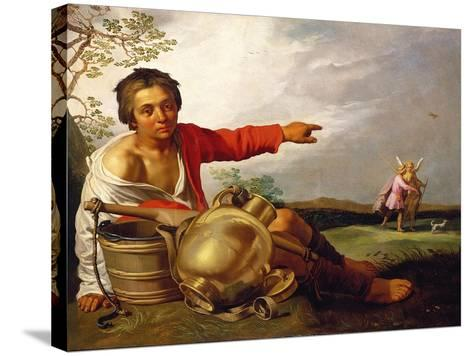 Shepherd Boy Pointing at Tobias and the Angel, C.1625-30-Abraham Bloemaert-Stretched Canvas Print