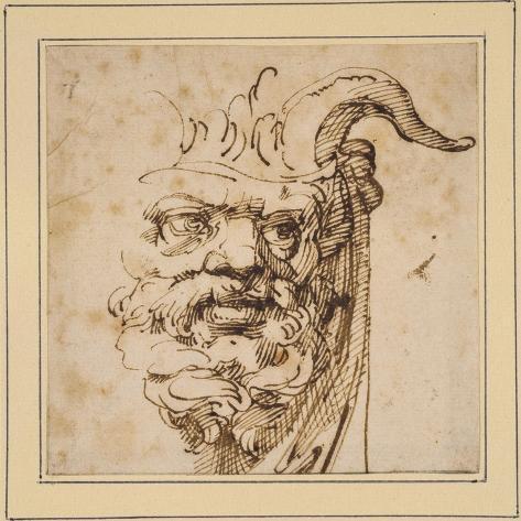 A Silvan Mask-Agostino Carracci-Stretched Canvas Print