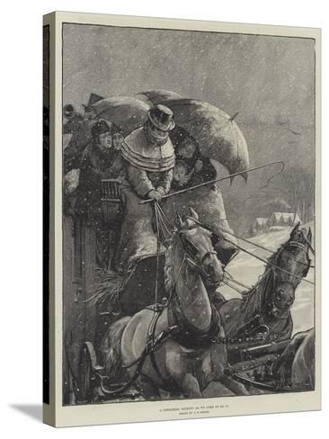 A Christmas Journey as We Used to Do It-Alfred Edward Emslie-Stretched Canvas Print