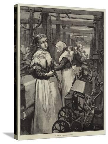 At Work in a Woollen Factory-Alfred Edward Emslie-Stretched Canvas Print