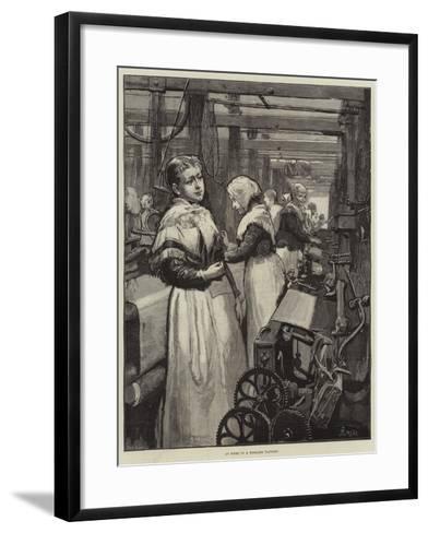 At Work in a Woollen Factory-Alfred Edward Emslie-Framed Art Print