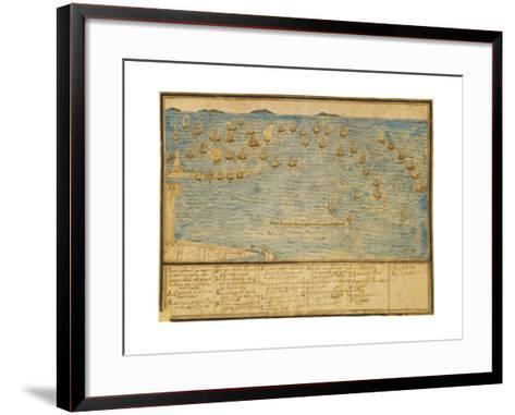 A Topographical Depiction of the Battle of Leghorn, C.1653 (Ink and W/C on Paper)-Alfonso Parigi the Younger-Framed Art Print