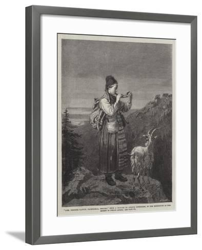 Girl Tending Cattle, Dalecarlia, Sweden, in the Exhibition of the Society of Female Artists-Amalia Lindegren-Framed Art Print