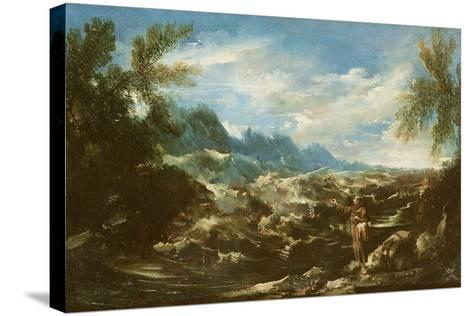 Saint Anthony of Padua Preaching to the Fishes at Rimini, C.1720-25-Alessandro Magnasco-Stretched Canvas Print
