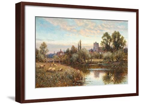 Sheep Grazing before Wrotham Church, Twilight-Alfred Augustus Glendening-Framed Art Print