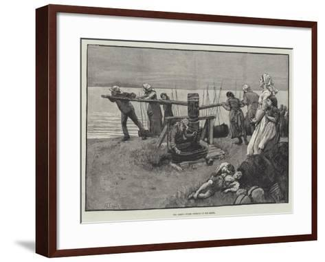 The Coming Storm, Winding Up the Boats-Alfred Edward Emslie-Framed Art Print