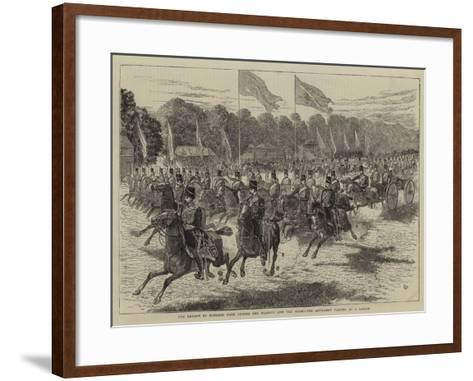 The Review in Windsor Park before Her Majesty and the Shah, the Artillery Passing at a Gallop-Alfred Chantrey Corbould-Framed Art Print
