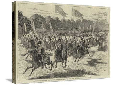 The Review in Windsor Park before Her Majesty and the Shah, the Artillery Passing at a Gallop-Alfred Chantrey Corbould-Stretched Canvas Print
