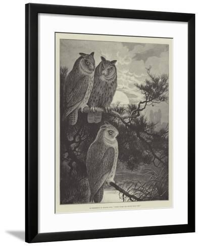 A Conference of Horned Owls, Three Heads are Better Than One-Alexander Francis Lydon-Framed Art Print