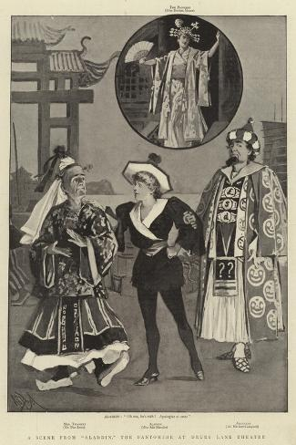 A Scene from Aladdin, the Pantomime at Drury Lane Theatre-Alexander Stuart Boyd-Stretched Canvas Print