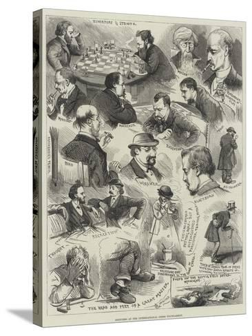 Sketches at the International Chess Tournament-Alfred Courbould-Stretched Canvas Print