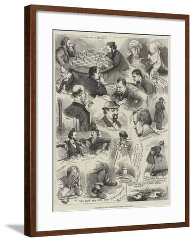 Sketches at the International Chess Tournament-Alfred Courbould-Framed Art Print