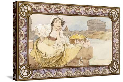 Italian Girl, 1900-Alphonse Mucha-Stretched Canvas Print