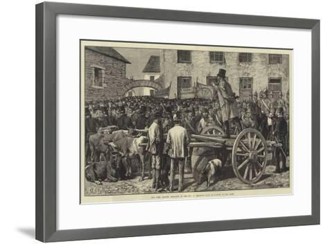 The Land League Agitation in Ireland, a Sheriff's Sale of Cattle, to Pay Rent-Aloysius O'Kelly-Framed Art Print