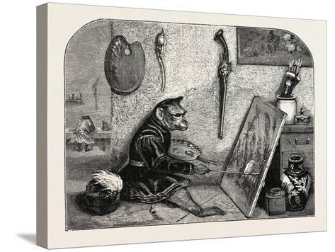 Salon of 1855. Monkey Painter, 1855-Alexandre Gabriel Decamps-Stretched Canvas Print