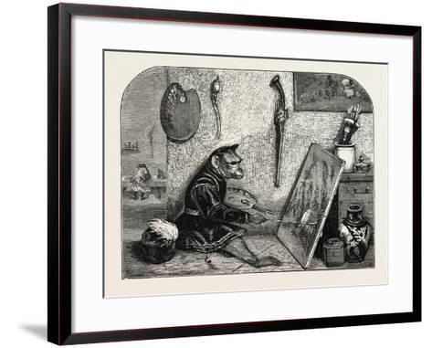 Salon of 1855. Monkey Painter, 1855-Alexandre Gabriel Decamps-Framed Art Print