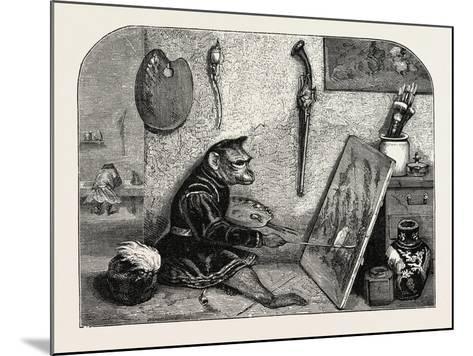 Salon of 1855. Monkey Painter, 1855-Alexandre Gabriel Decamps-Mounted Giclee Print