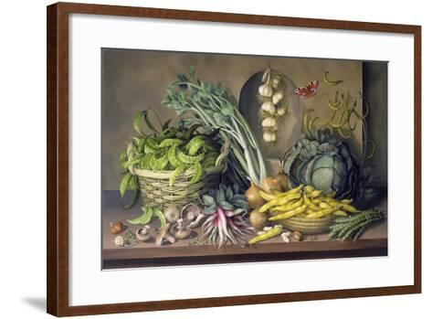 Garlic and Radishes and a Peacock Buttefly, 1997-Amelia Kleiser-Framed Art Print