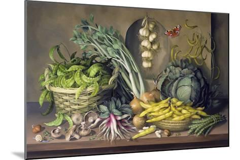 Garlic and Radishes and a Peacock Buttefly, 1997-Amelia Kleiser-Mounted Giclee Print