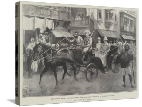 The Bombay Riots, Removing Nurses from the Plague Hospital to a Place of Safety-Amedee Forestier-Stretched Canvas Print