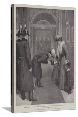 Lord Roberts in His London Hotel, the Commander-In-Chief Greeting Lady Settrington's Little Girl-Amedee Forestier-Stretched Canvas Print