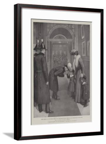 Lord Roberts in His London Hotel, the Commander-In-Chief Greeting Lady Settrington's Little Girl-Amedee Forestier-Framed Art Print